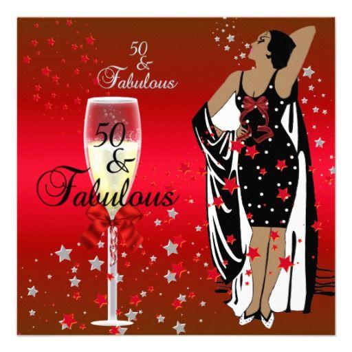 50 And Fabulous Meme: 50th Birthday Party Retro Diva Art Deco Red Black