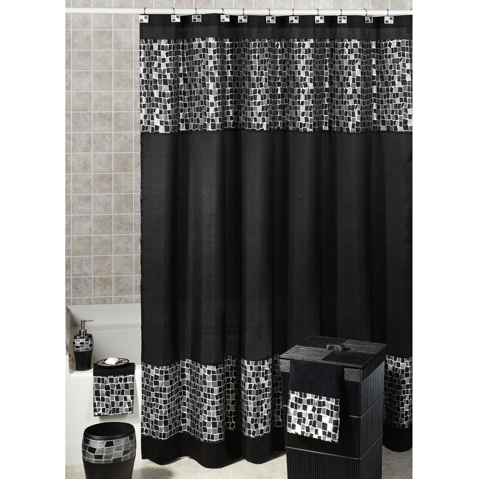 Dark knight shower curtain - Black Solid Sequin Shower Curtain