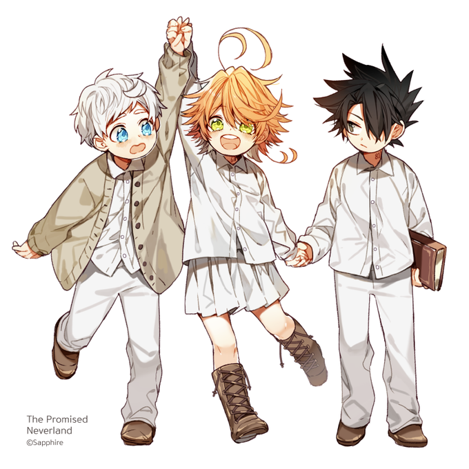 Norman Emma Ray The Promised Neverland Neverland Neverland Art Anime