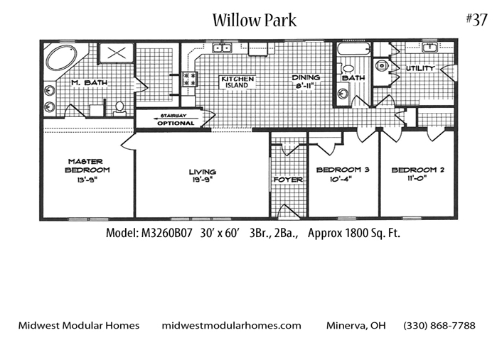 Willow Park M3260b07 Ranch House Floor Plan Total Living Area 1800 Sq Ft 3 Bedrooms And 2 Bathro Modular Homes Custom Floor Plans Ranch House Floor Plans