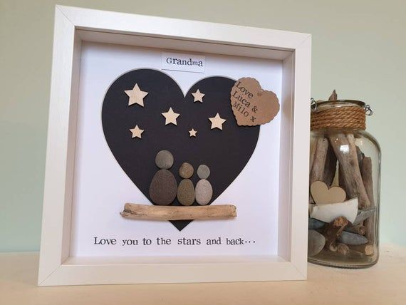 Personalised Grandad Pebble Art Gift. Grandad Gift. Love you to the stars & back. Grandpa Birthday Gift. Special Grandparent. Gramps Gift.