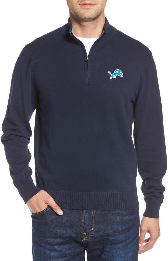 887ce13581e Cutter   Buck Detroit Lions - Lakemont Regular Fit Quarter Zip Sweater