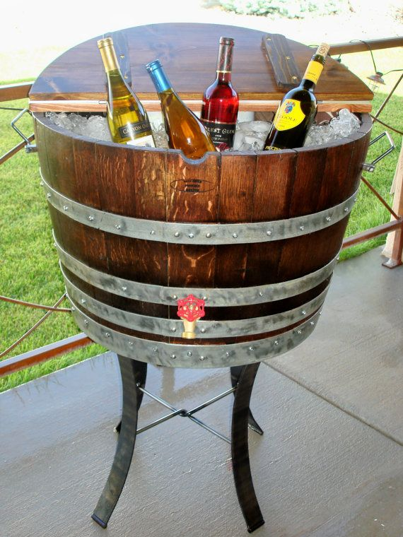 Wine Barrel Ice Chest Lowes And Home Depot Sell Barrels For About 34 Eachcould Put On Large Plant Stand Great Idea
