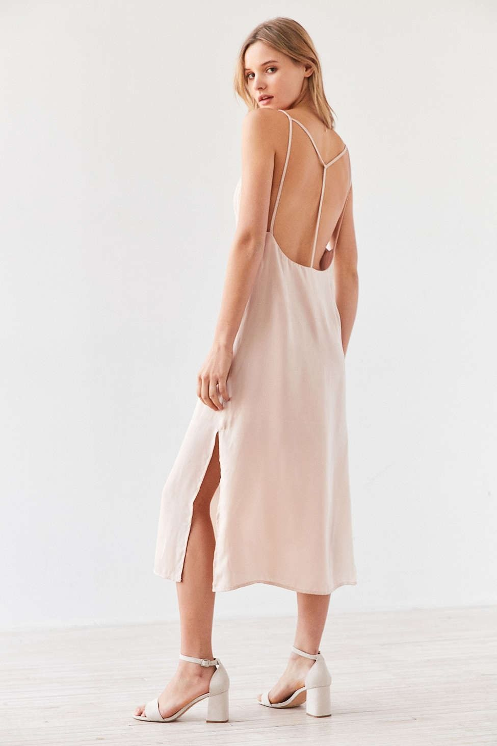 fc2d2686a8d17 Silence + Noise Strappy Back Shine Midi Slip Dress - Urban Outfitters