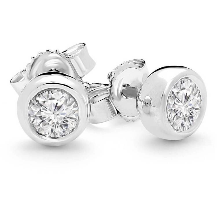 p ct round cut wh earrings set diamond stud bezel