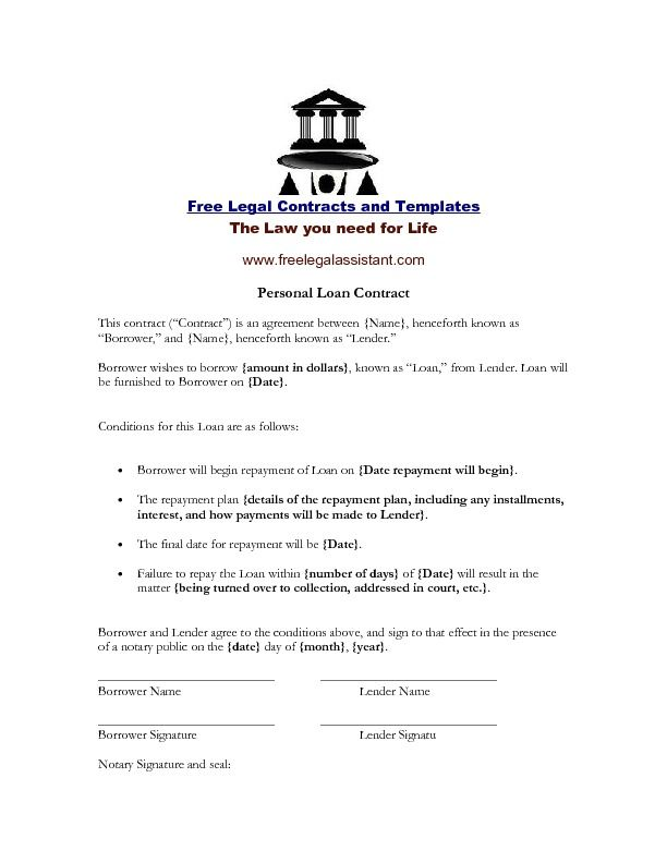 Rent To Own Home Contract | Personal Loan Contract This Contract Can Be Used Any Time You Sell