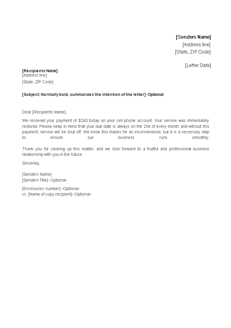 payment received acknowledgement letter  how to write a