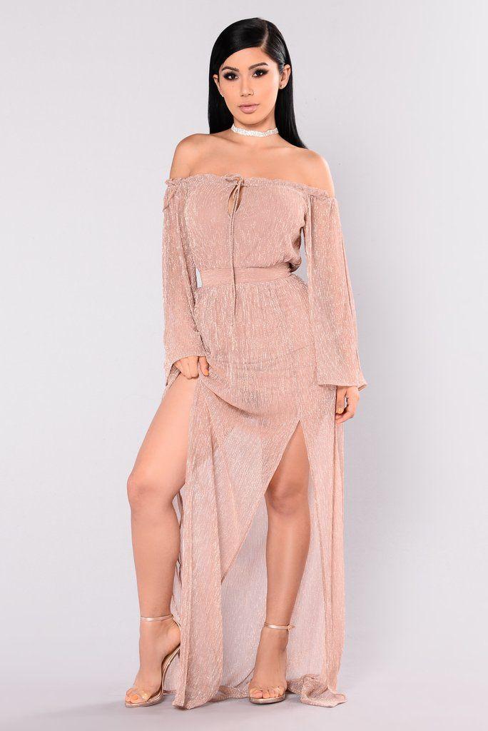 Kiss Me Slowly Off Shoulder Dress - Rose Gold | Shoulder dress, Kiss ...