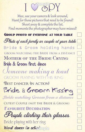 I Love Eye Spy Childrens Wedding Activity Bridesmaid Pageboy Gift Ebay Children