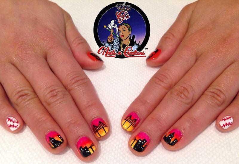SF Giants Sunset nail art by G\'s Nails N\' Creations | Nail Art ...