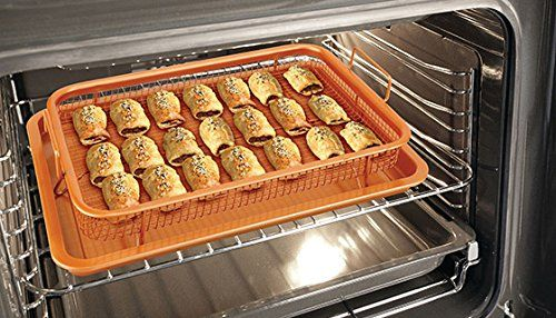 Copper Oven Non Stick Air Fryer 2 Pc Set Frying Basket Baking Sheet - Cool Kitchen Gifts