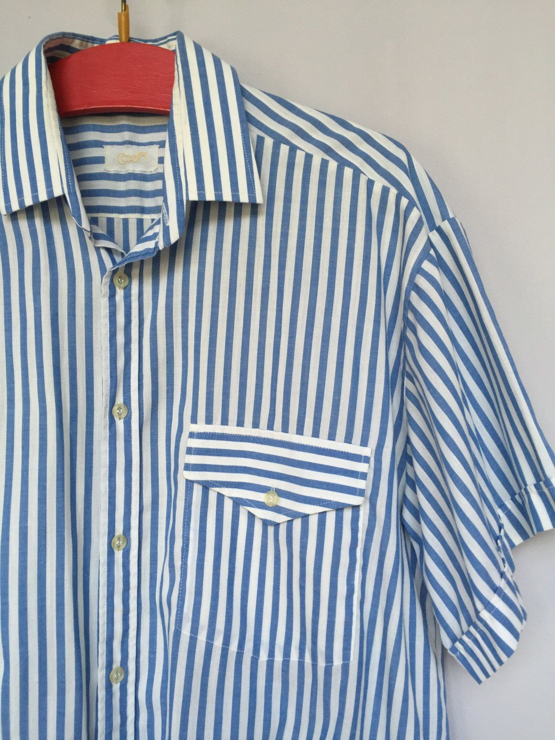953a3bc25d11 80 s blue stripe navy man shirt nautical light summer shirt oxford shirt 41  (eu) M by RosaBoutiqueStudio on Etsy