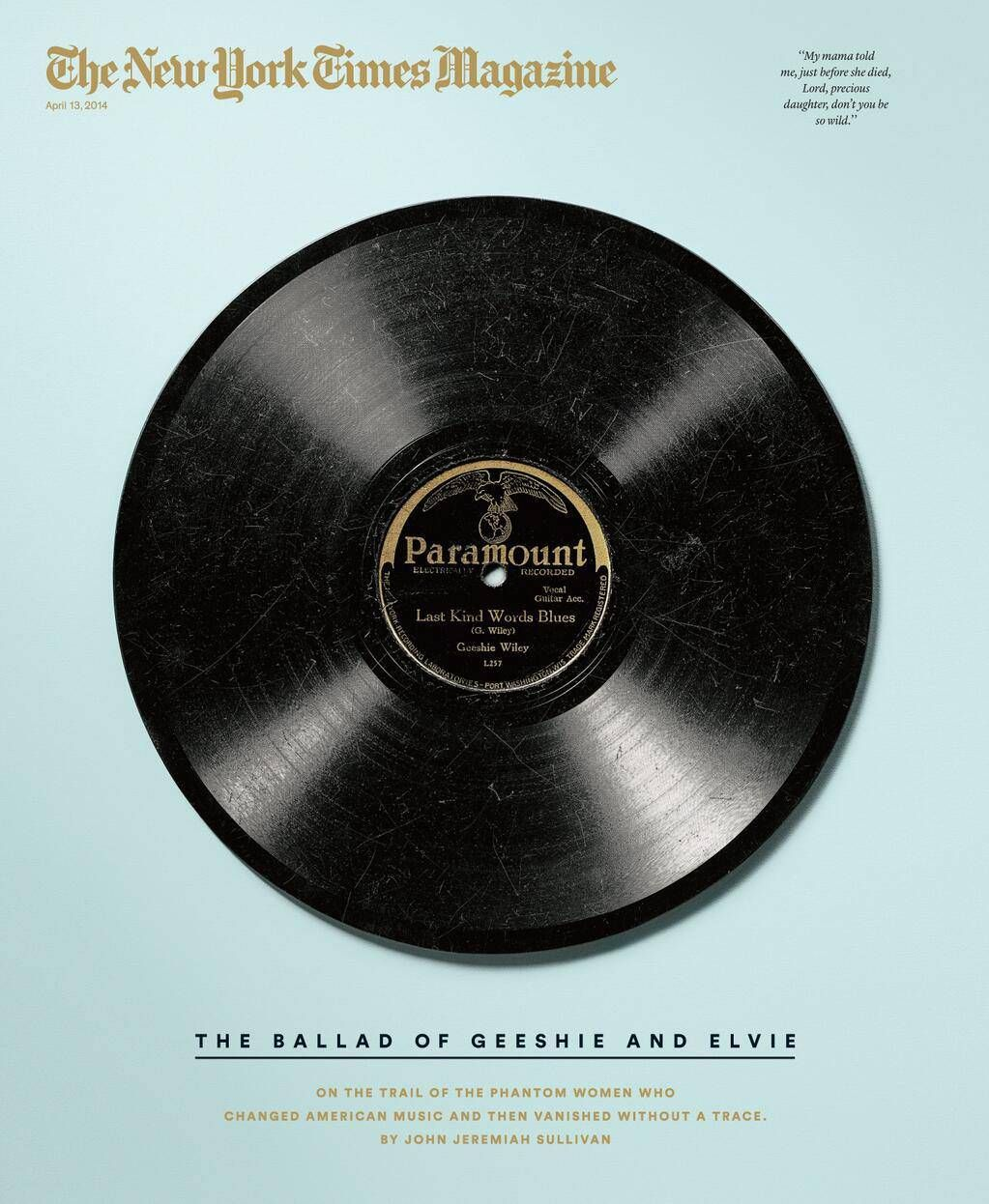 #NewYorkTimes Magazine cover, April 13, 2014. Moody blue. By Gail Bichler