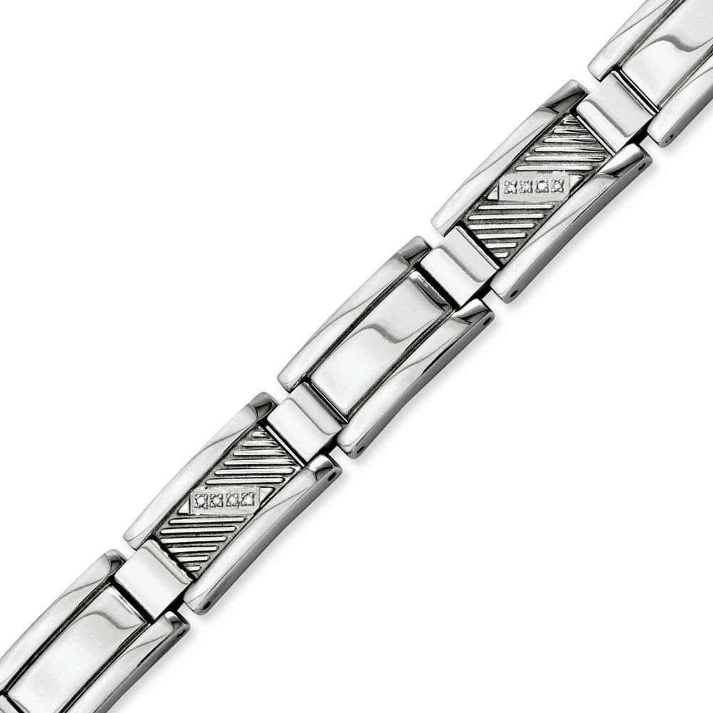 Chisel Textured & Polished with Diamonds 8.5in Bracelet, Men's