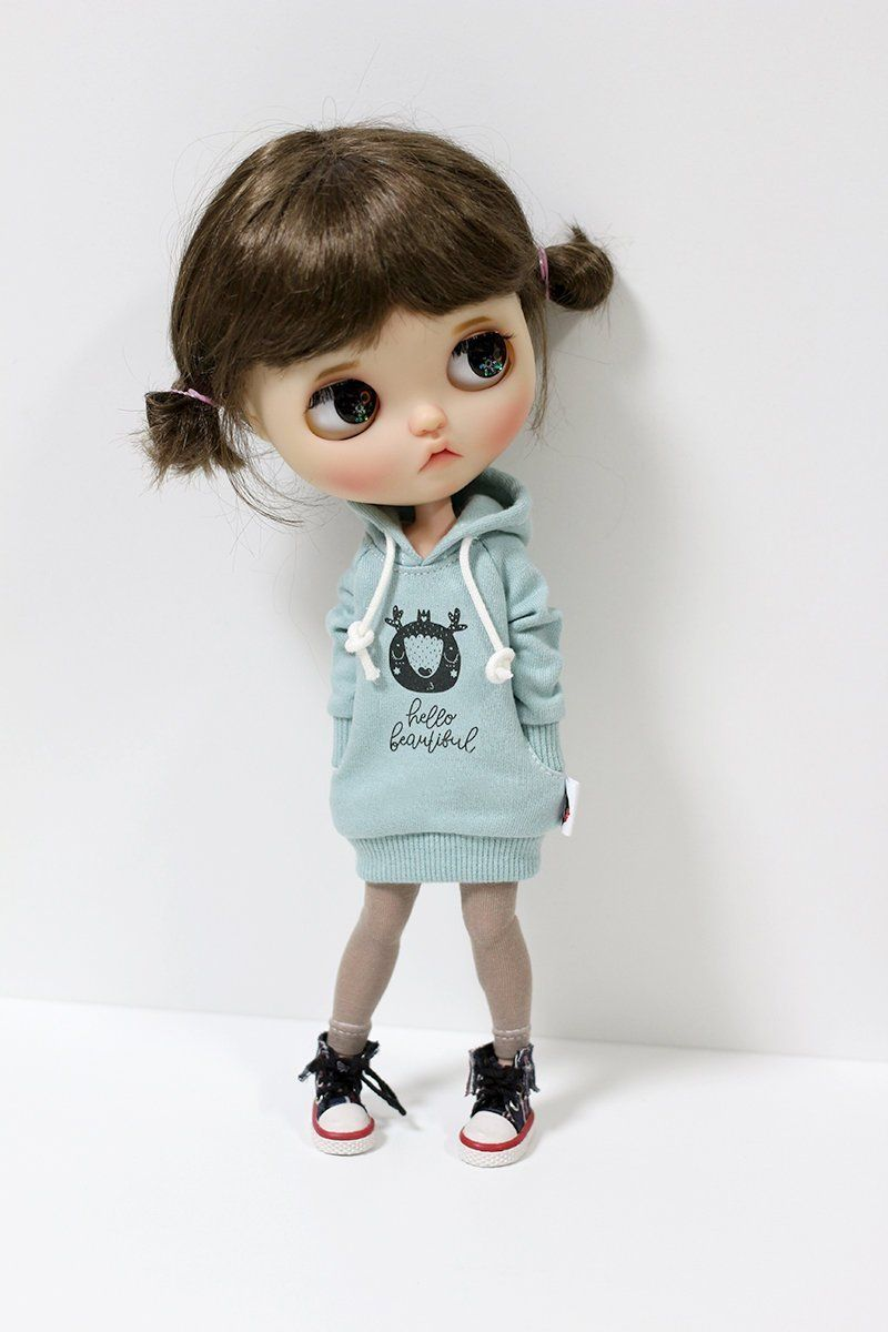 Blythe clothes - Hello Hoodie Long T-shirt