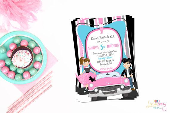 50s Theme Party Birthday Invitation Or Evite