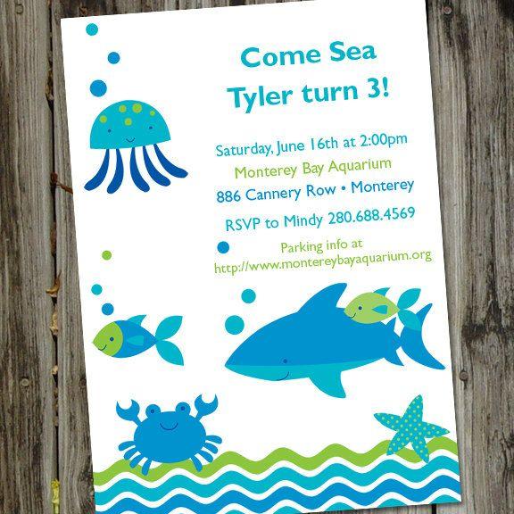 A Very Fishy Birthday Printable Aquarium Ocean Party Invitation