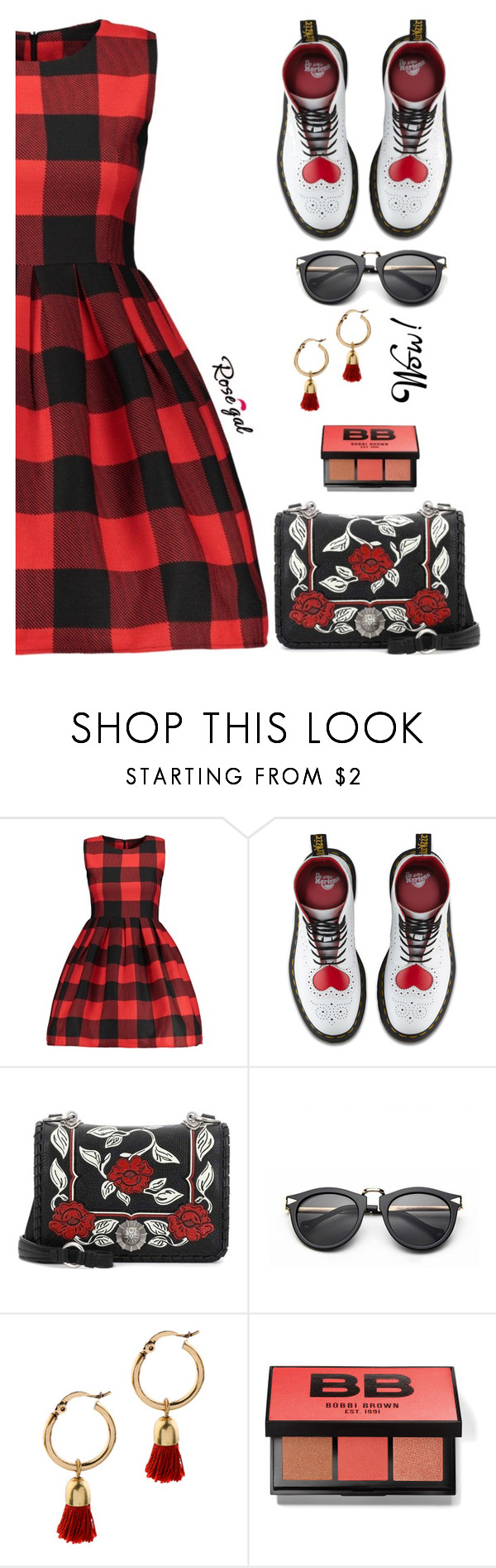 """73. Rosegal plaid dress"" by wannanna ❤ liked on Polyvore featuring Dr. Martens, Miu Miu and Bobbi Brown Cosmetics"