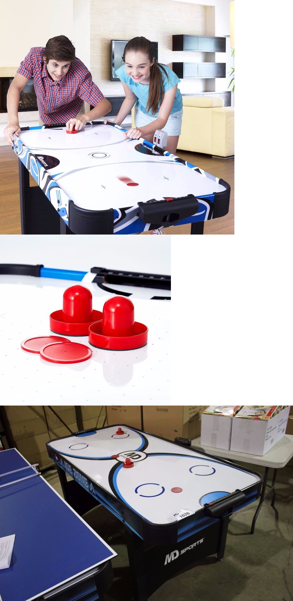 Air Hockey 36275: Md Sports 48 Inch Air Powered Hockey Table Accessories  Included  U003e