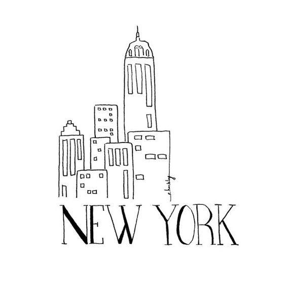 City Sketch - NEW YORK   Black and white Illustration ...