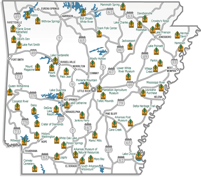 Map of the 52 Arkansas state parks This interactive map gives you – Arkansas Tourist Attractions Map