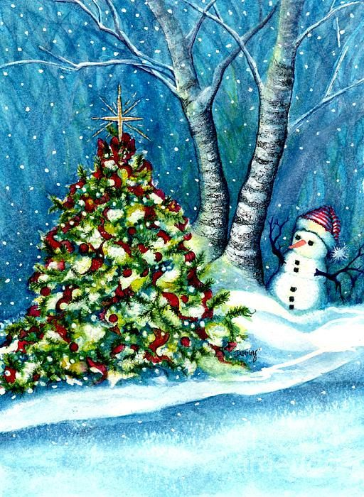 Oh My A Christmas Tree Watercolor Painting By Janine Riley