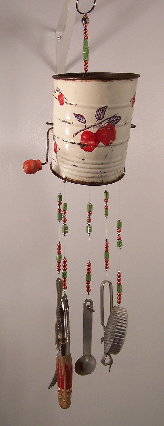 Wind chime repurposed sifter kitchen wind chime in the for Wind chimes homemade crafts