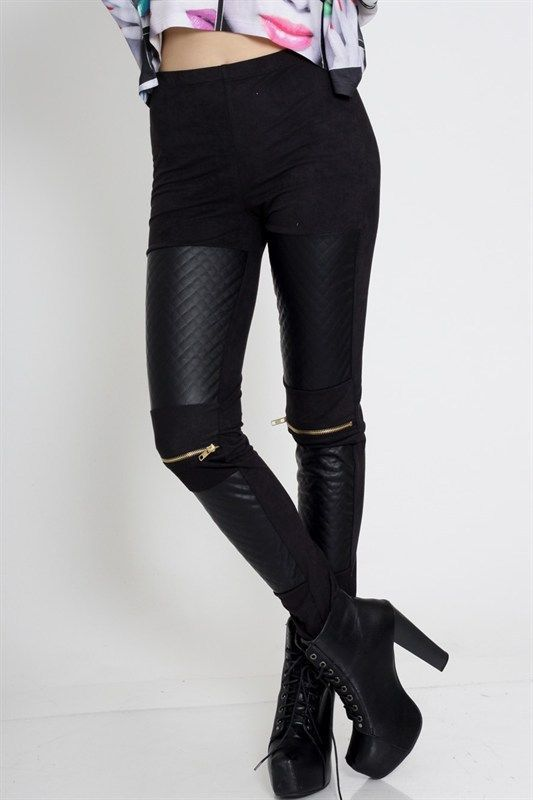 e2957ea3fa4172 Black Gold Faux Leather Suede Trim High Waisted Zipper Stretch Leggings  Pants #ClothingBucket #CasualPants #leatherleggings