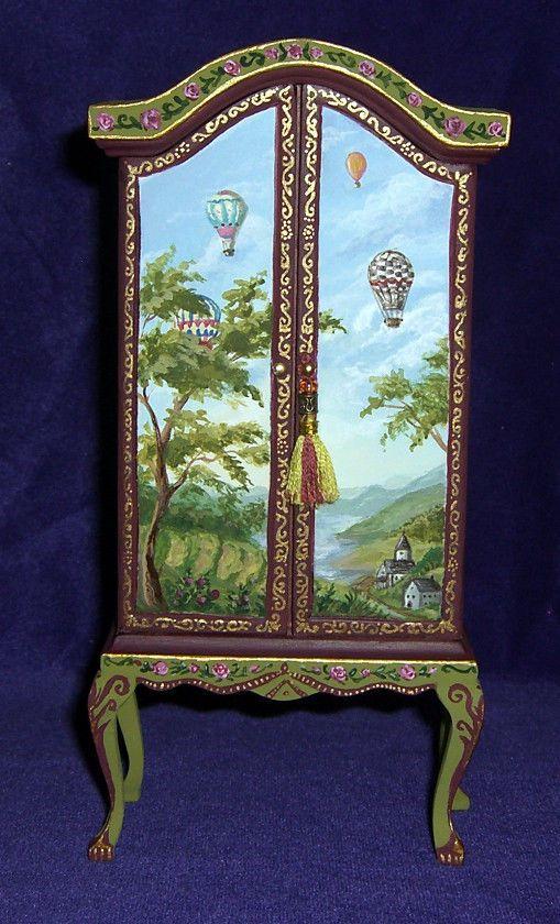 Wonderful Dollhouse Miniature Hand Painted Armoire Wardrobe Furniture 1:12 OOAK L.  Lassige