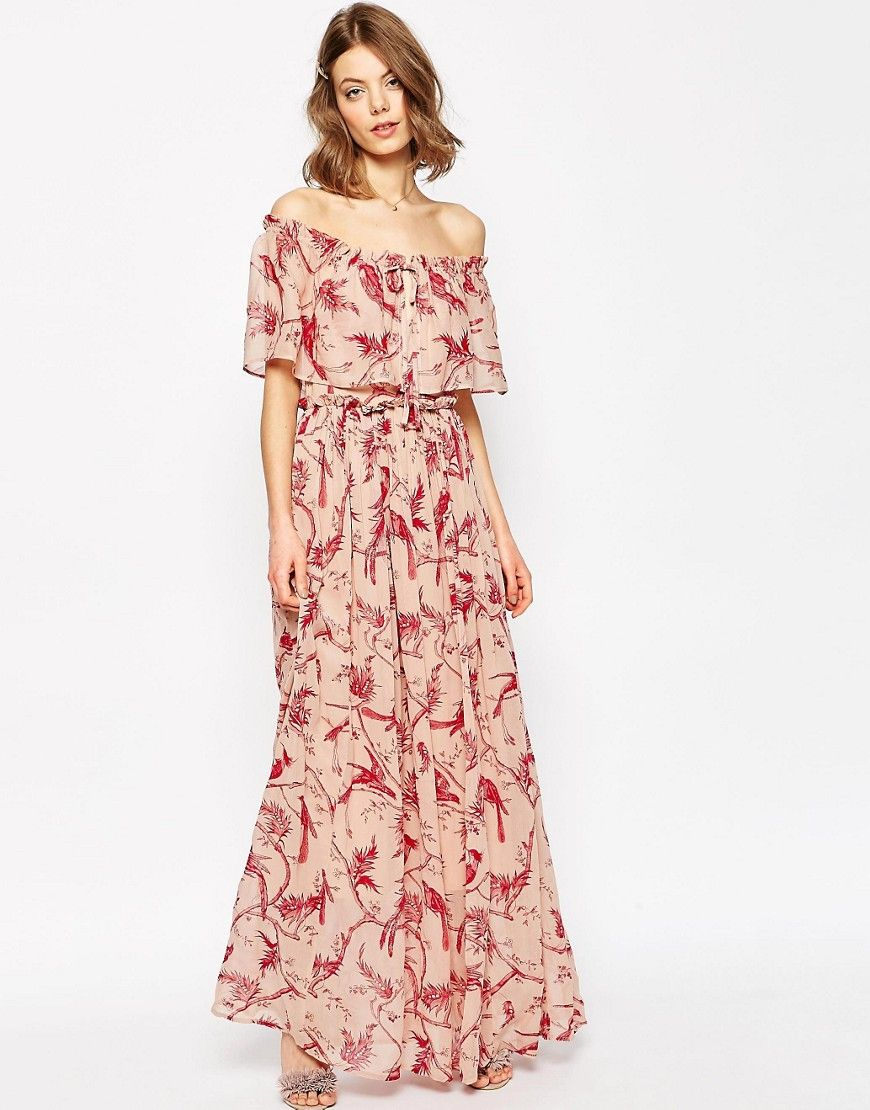 1cbe1042ff ASOS Printed Ruffle and Tiered Off Shoulder Maxi Dress | Style in ...