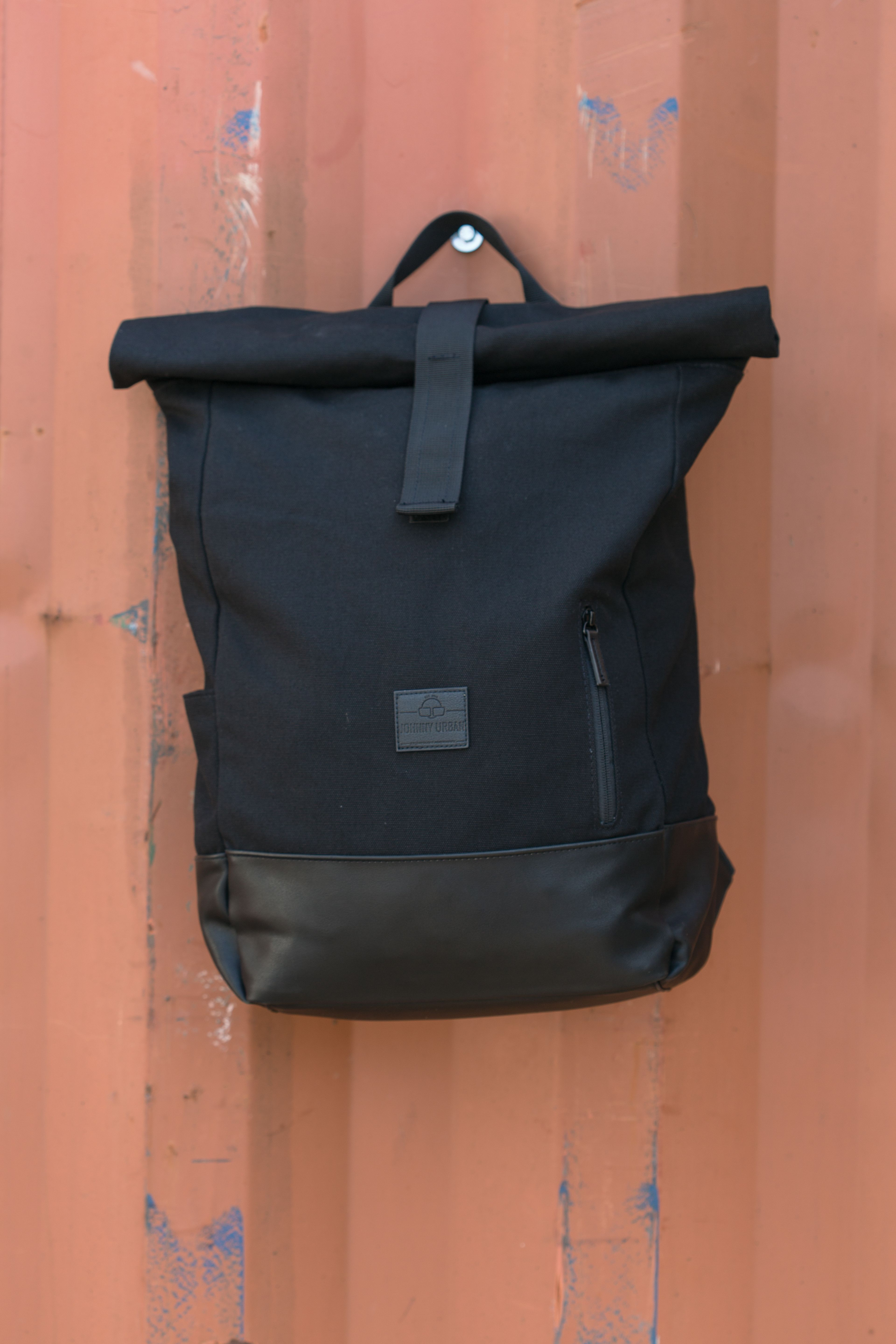 9f09271645 Canvas roll top backpack black for men   woman. Perfect companion for  school