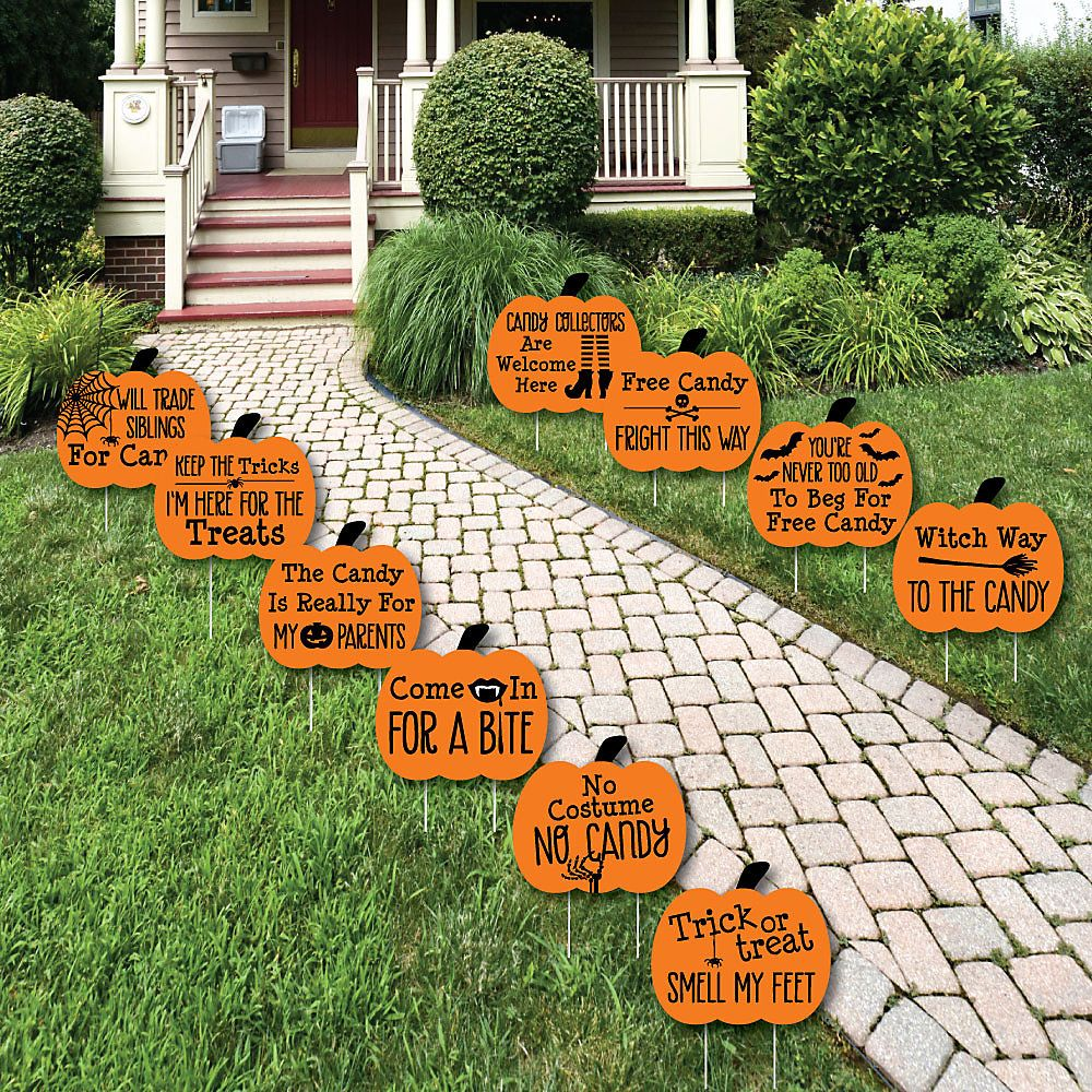 Funny Trick or Treat - Pumpkin Lawn Decorations - Outdoor Halloween - Halloween Yard Decorations