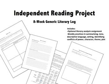 Independent Reading: Generic Literary Log for Any Book