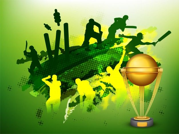 Download Green Cricket Sports Background With Illustration Of Players And Golden Trophy Cup For Free Cricket Sports Sports Cricket