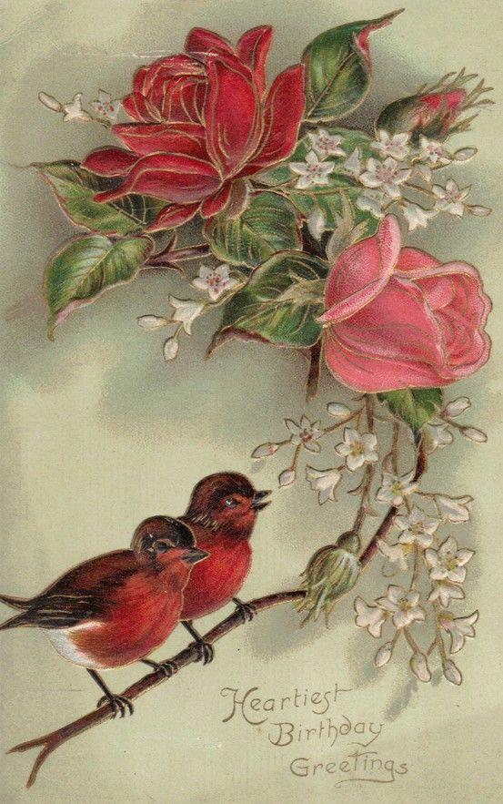 Открытка с птицами и с цветами