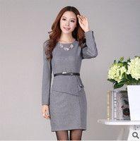 Cheap 2014 Women's Career Dress Long Sleeve Office formal wear ...
