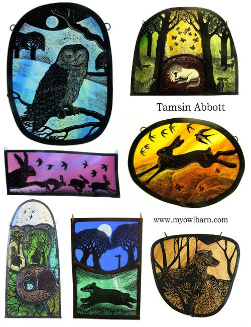 Owl, hare, dog stained glass art by Tamsin Abbott