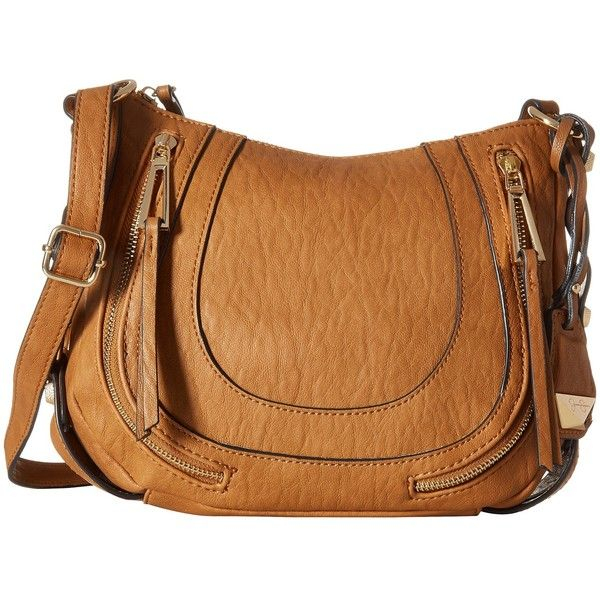 Jessica Simpson Kendall Crossbody (Cognac) Cross Body Handbags ($88) ❤ liked on Polyvore featuring bags, handbags, shoulder bags, shoulder handbags, jessica simpson crossbody, crossbody shoulder bags, shoulder strap bag and brown purse