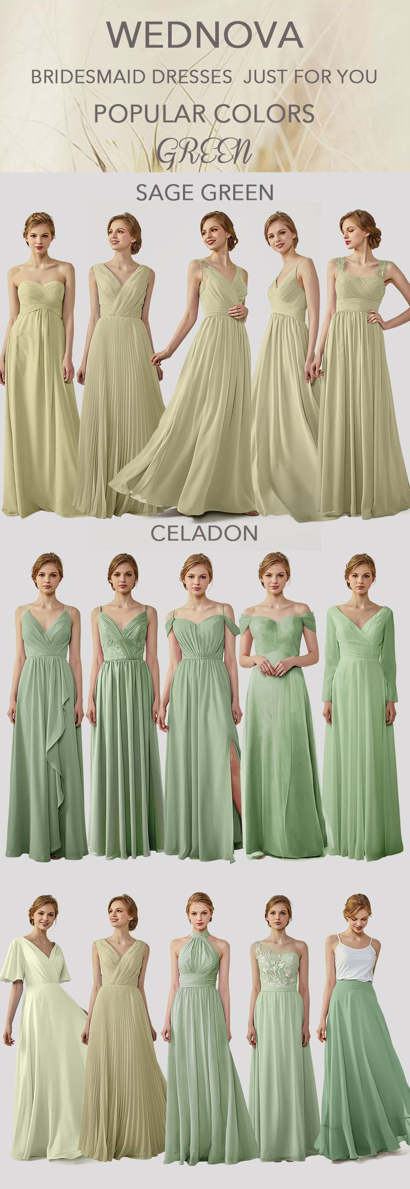 Beautiful green bridesmaid dress boho with sleeves high quality off