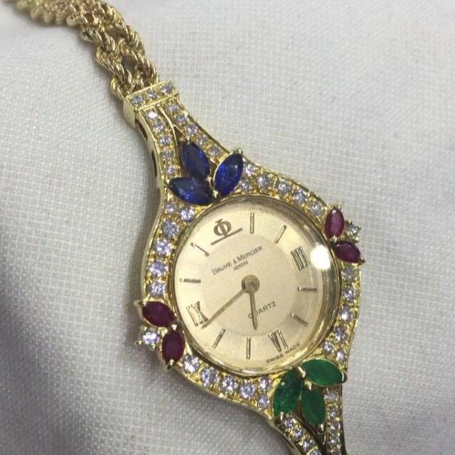 لعشاق الذهب والماس والاحجار الطبيعية الراقية ساعة Baume And Mercier من الذهب الخالص وحبات الماس النقيه وأجمل أنواع الأح Bracelet Watch Jewelry Accessories