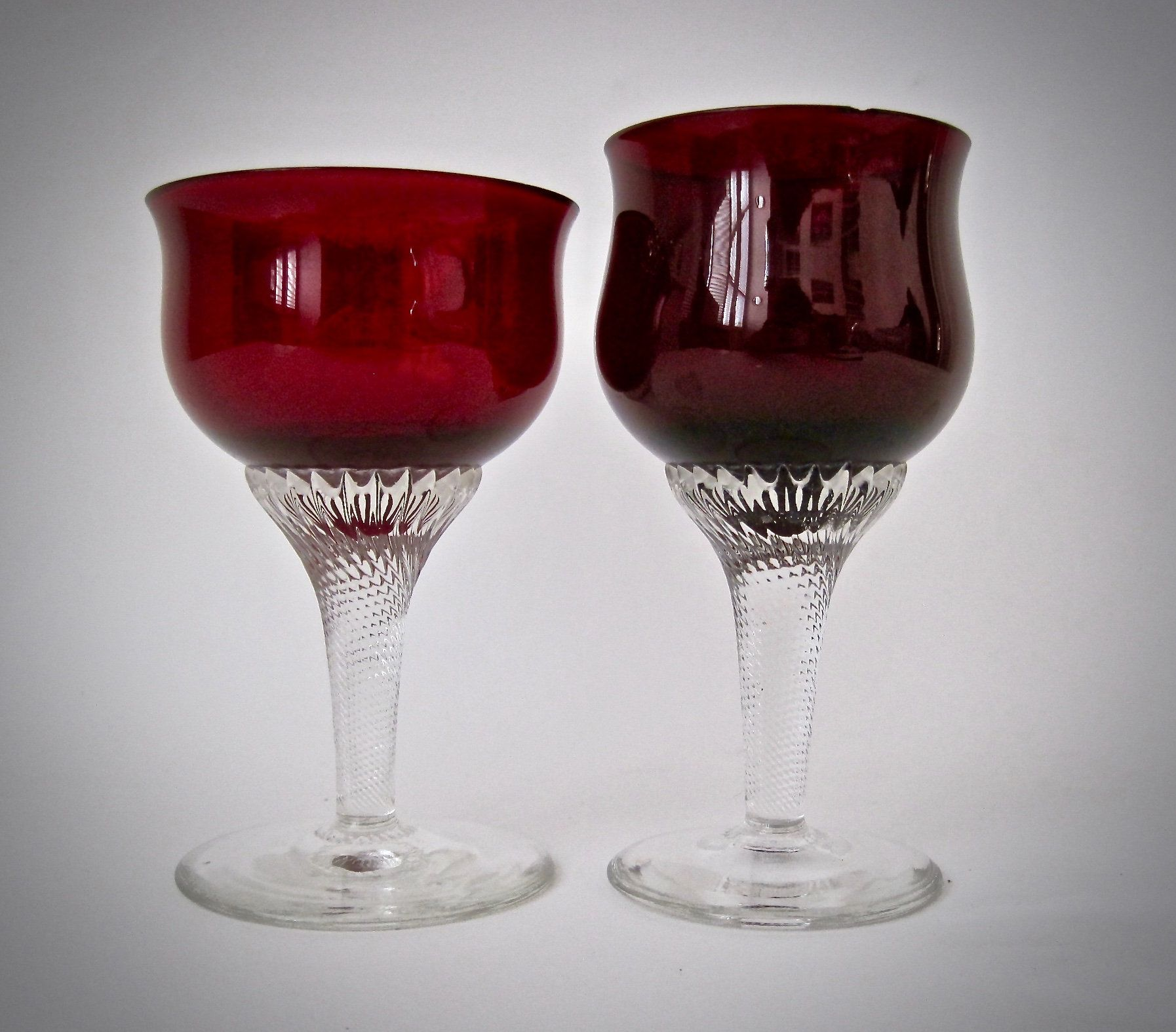 Lovely Hand Made Vintage Ruby Red Port Or Sherry Glasses Etsy Sherry Glasses Antique Glassware Ruby Red