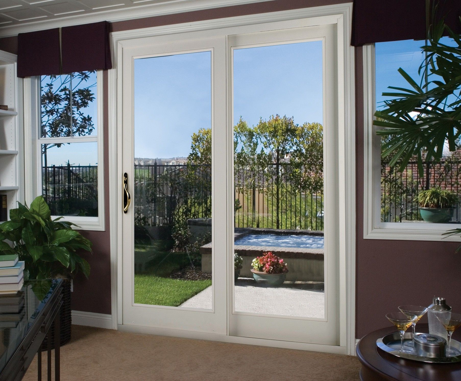 Interior Sliding Patio Door With Mirrored Glass Blinds Blinds For Patio Doors Sliding Patio Doors Patio Doors Modern Patio Doors