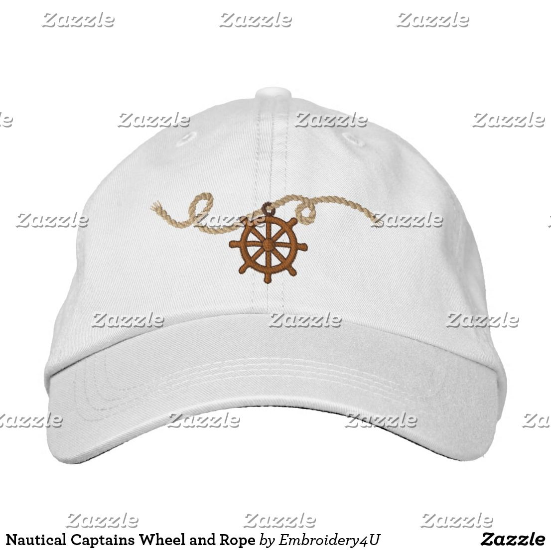 112f1203 Nautical Captains Wheel and Rope Embroidered Baseball Cap | Zazzle ...