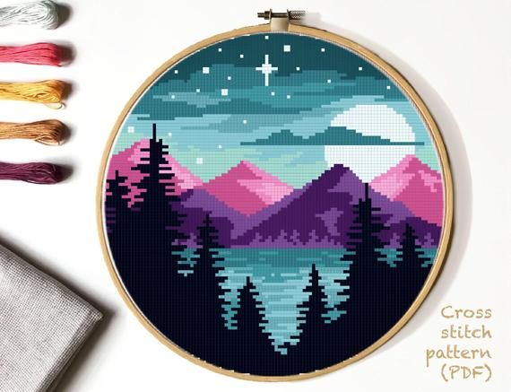 Photo of Landscape  Cross Stitch Pattern, mountains  counted cross stitch chart, starry sky, forest, lake,  round, embroidery, INSTANT DOWNLOAD PDF