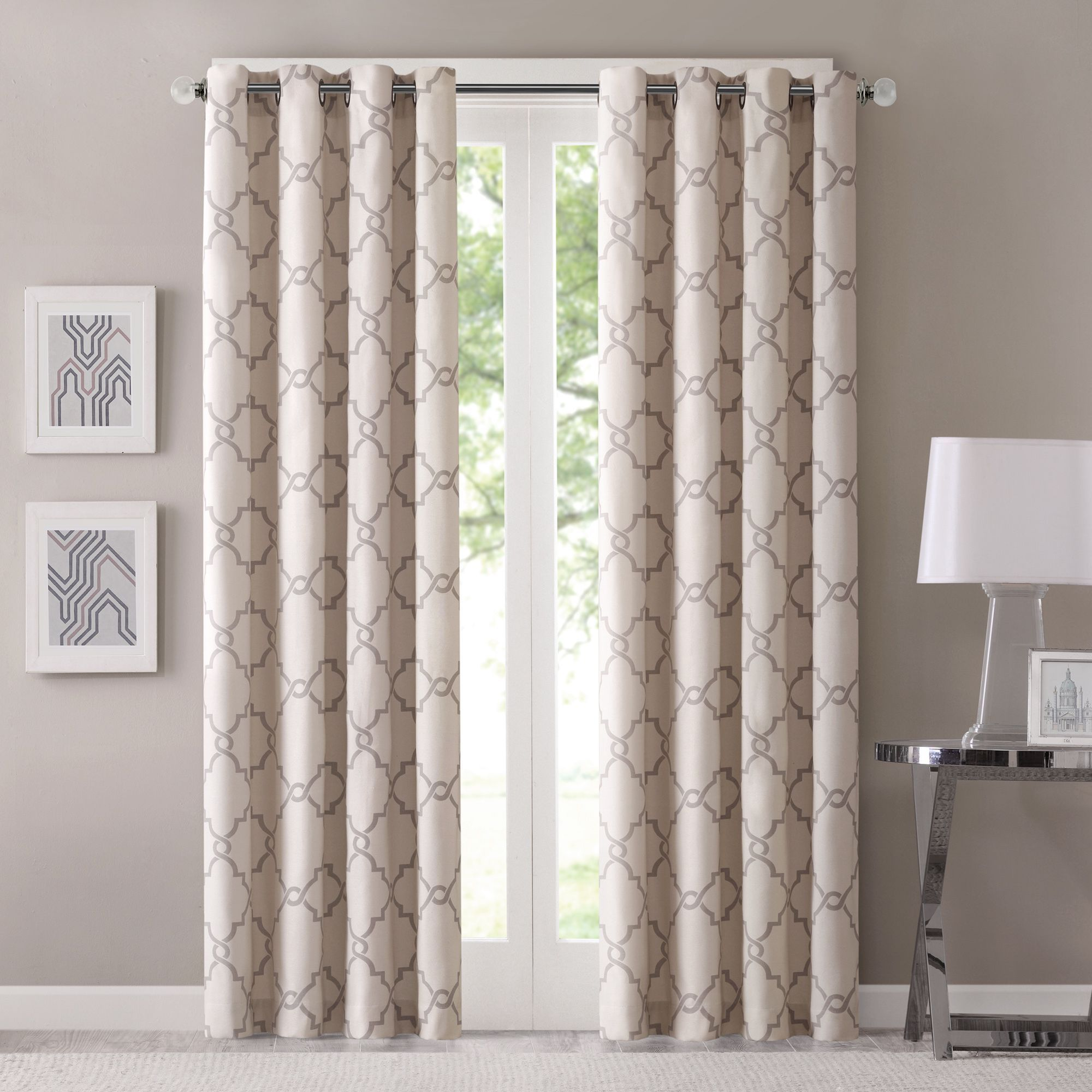 Madison Park Westmont Geometric Pattern Curtain Panel (Single) (50x63 -  Grey), Size 50 x 63