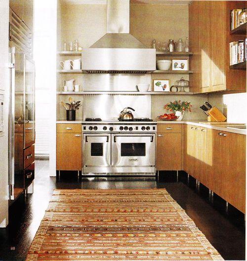 Dark Wood Flooring Kitchen: Modern Maple Cabinets With Dark Wood Floor