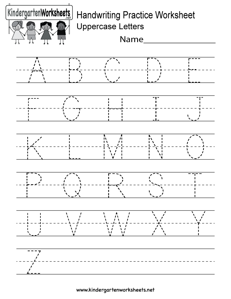 This is a handwriting practice worksheet for uppercase letters