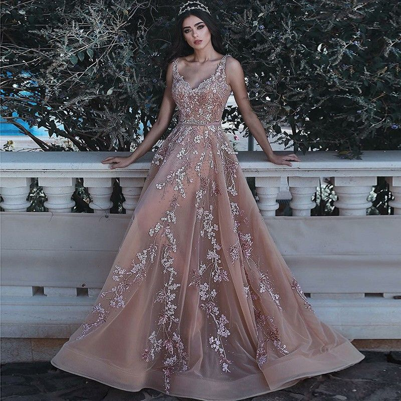 Find unique, vintage and handmade Best A-Line V-Neck Sweep Train Champagne Tulle Prom Dress with Beading Appliques Events in sevengrils A-Line V-Neck Sweep Train Champagne Tulle Prom Dress with Beading Appliques