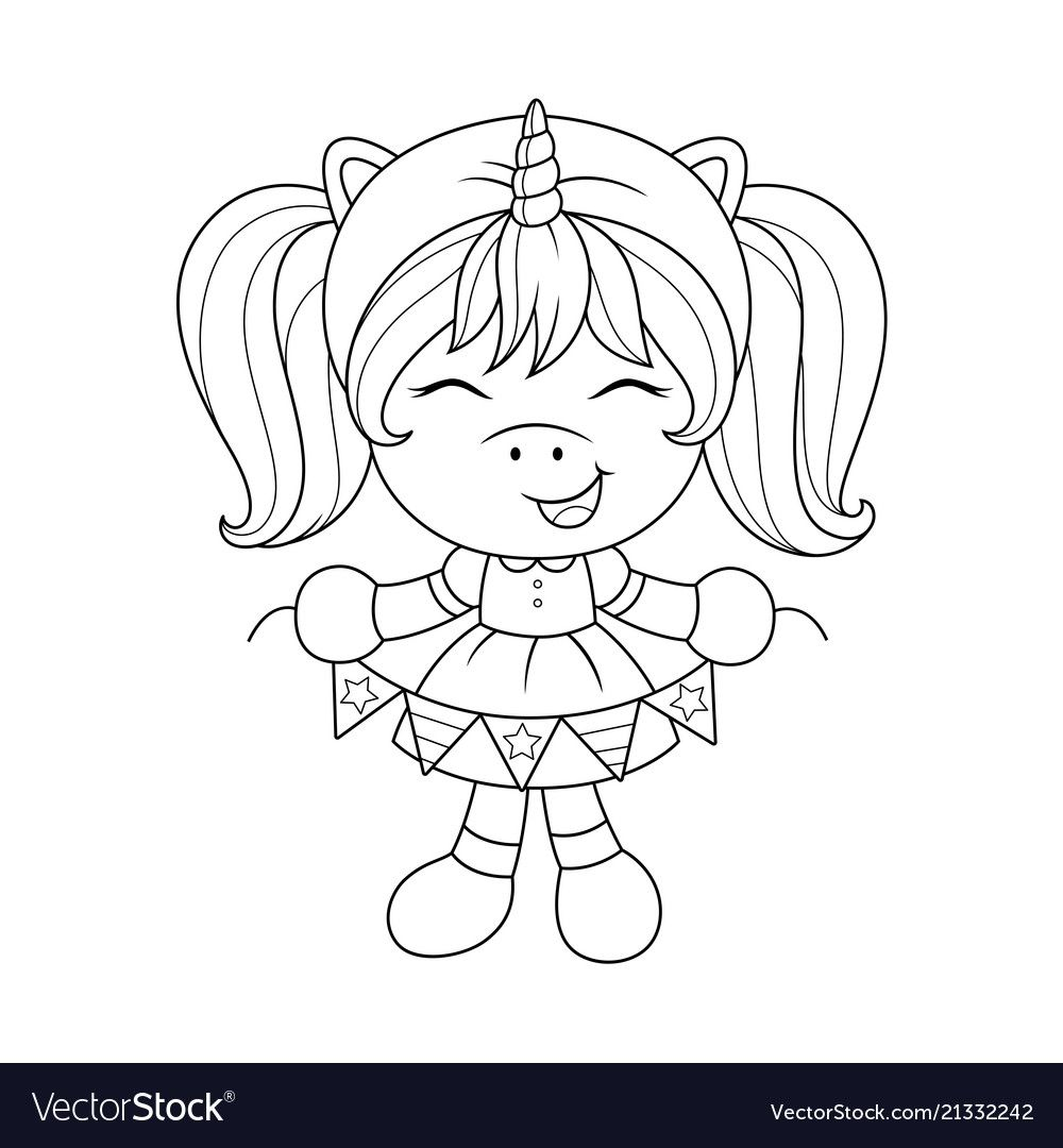 Cute baby unicorn with paper garland, coloring page for