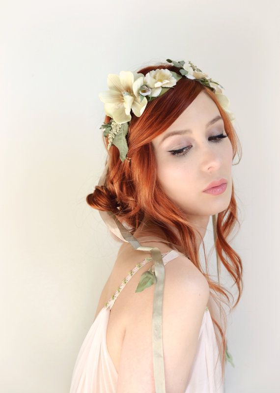 Wedding Headband Ivory Flower Crown Bridal By Gardensofwhimsy